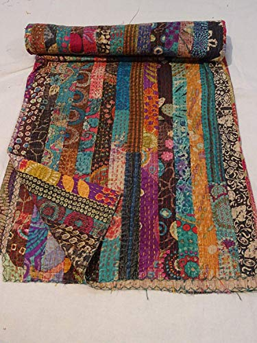 Lowest Price! Sophia-Art Spread Queen Reversible Cotton Blanket Quilt Ralli Size Orange Kantha Ikat ...