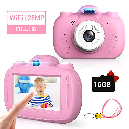Kinderkamera, 28MP HD Video-Digitalkamera für Kinder, 3,0 Zoll IPS HD 1080P Touchscreen & Unterstützt WiFi/Kleine Spiele,Geburtstagsgeschenk für Junge Mädchen im Alter von 3-12 (Rosa)