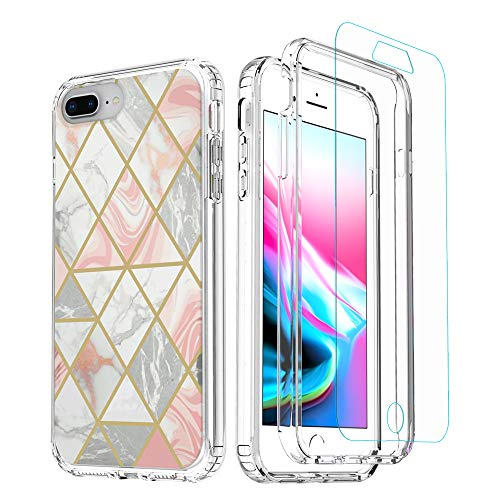 Marble iPhone 8 Plus Case with Screen Protector,WHENUO iPhone 7 Plus Case, Geometric 2 in 1 Design Clear Hard PC Bumper Soft TPU Back for iPhone 6/7/8 Plus(5.5 inch)[Screen Protector for Gift] (Pink)