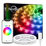 NiteBird 16.4ft Smart LED Strip Lights Works with Alexa Google Home,App Remote Control,16 Million RGB 5050 SMD LED Color Changing Light Strips, Music Sync,for Room Decorations Bedroom TV Party
