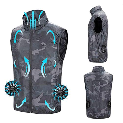 Sommer-Lüfter Vest, USB Smart Charging Kleidung Männer Frauen Im Freien Sonnenschutz Hautjacke atmungsaktiv kühlen Anzug,XXL