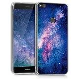 kwmobile Carcasa Compatible con Huawei P8 Lite (2017) - Funda de TPU y Estrellas en la Galaxia en Rosa Claro/Rosa Fucsia/Azul Oscuro