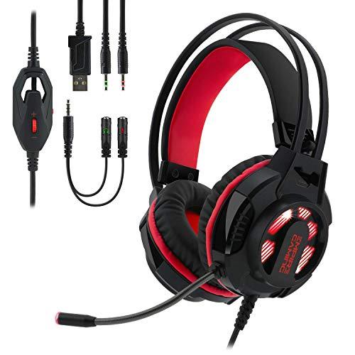 EMPIRE GAMING - Auriculares gamer con micrófono flexible H400 – Juegos PC, PS4, XBOX, Nintendo Switch – Control por cable