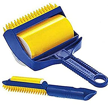 SportsMax Omnipotent Versatile Sticky Cleaner Picker Pet Hair Crumbs Lint Reusable Washable Roller Brush (Medium, Yellow)