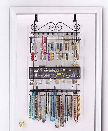 Longstem Organizers Over-Door/Wall Jewelry Organizer in Black (#6100), Holds Over 300 Pieces
