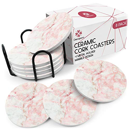 Coasters for Drinks Ceramic Cork Set - 8 Pcs Absorbent Rose Marble Design Coasters with Metal Holder for Cups Mugs Coffee Wine Wooden Glass Tabletop Protection Bar Table House Warming Gift Home