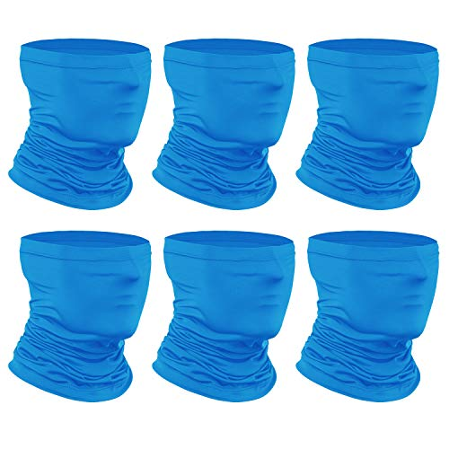 [6-Pack] Neck Gaiter Scarf, Breathable Bandana Face Bandana Cover Cooling Neck Gaiter for Men Women Cycling Hiking Fishing. Blue