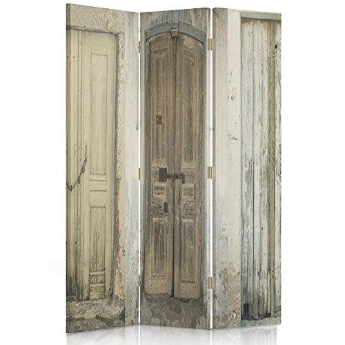 Feeby Frames Biombo Impreso sobre Lona, tabique Decorativo para Habitaciones, a Doble Cara, de 3 Piezas, 360° (110x180 cm), Puerta, Edificio, RÚSTICO, MARRÓN