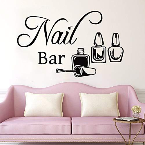JXNY Nagel Bar Wandaufkleber Nagellack Wandtattoo Nagel Beauty Salon Dekoration Bewegliche Wand Fenster Glas Dekorative Wandmalerei57x36cm