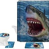 Coloranimal - Juego de alfombras de baño con diseño de animales 3D impresos+tapa de inodoro+alfombrilla de baño