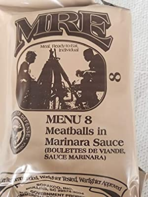 LoJo Surplus Genuine Military MRE Meals Ready to Eat with Inspection Date 2021 or Newer (Meatballs in Marinara Sauce)