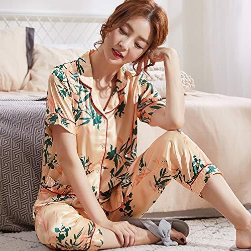 Ropa de dormir para las mujeres Las mujeres del verano pijamas de seda corto decodificadores Mujer pijamas Set NightSuit pijama conjunto pantalón largo XXYHYQHJD ( Color : Lm903 , Size : XXL )