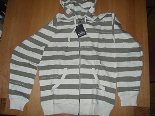 Aveal Raglan Hooded Zip Stripes - Off White - M