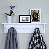 Ballucci Floating Coat and Hat Wall Shelf Rack, 5 Pegs Hook, 24', White