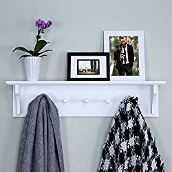 top rated Ballucci floating coat and hat shelf, 5 hooks, 24 inches, white 2021
