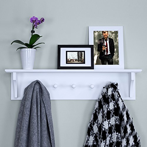 Ballucci Floating Coat and Hat Wall Shelf Rack 5 Pegs Hook 24 White