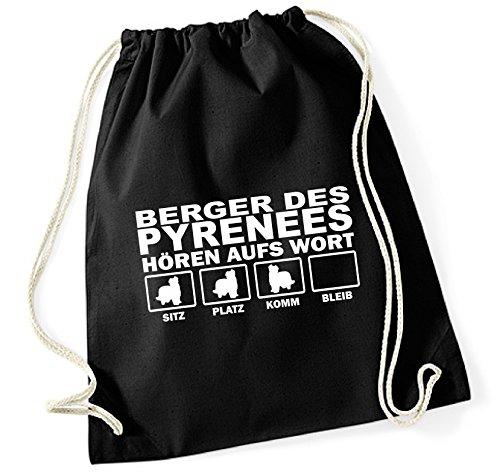 Siviwonder Turnbeutel - BERGER DES PYRÉNÉES Pyrenäenschäferhund Pyrenees - HÖREN AUFS WORT Baumwoll Tasche Beutel schwarz