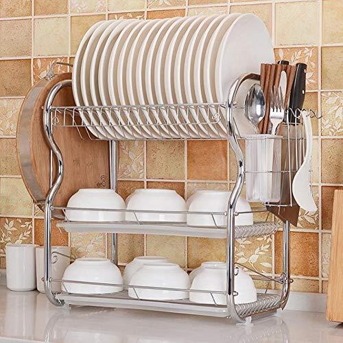 Vinky Escurreplatos de Cocina de 3 Niveles Acero Inoxidable, Organización Estante con Bandeja de Goteo para Utensilios, 55 * 25 * 45cm