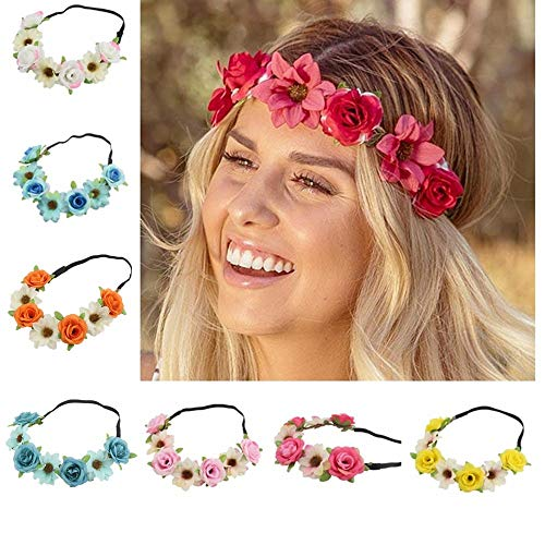 BJ-SHOP Stirnband Blumen,Blumenkranz Rose Hawaiian Luau Blume Seaside Flower Garland 8PCS