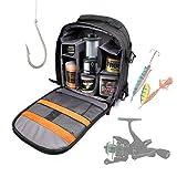 DURAGADGET Mochila con Compartimentos para Accesorios De Pesca + Funda Impermeable Guardar/Organizar
