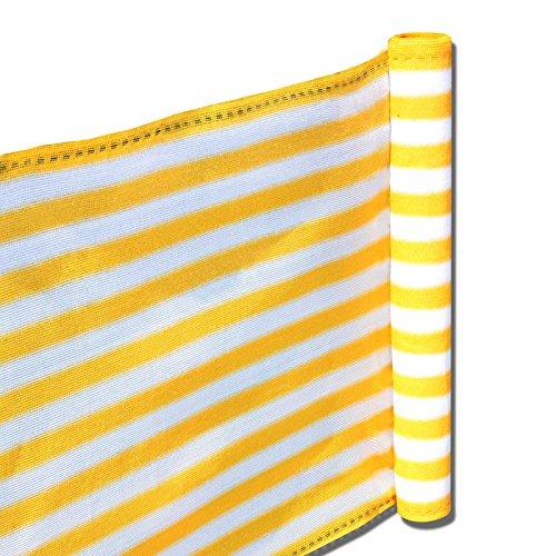 nxtbuy Balkon Sichtschutz 0,9 x 15 m (3 x 5 m) - Balkonbespannung aus hochwertigem HDPE-Gewebe - Balkonverkleidung mit gewebten Ösen und 33m Befestigungskordel, Farbe:Gelb-Weiß