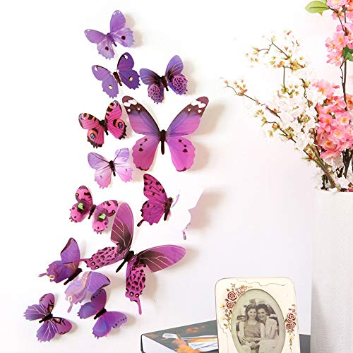 12Pcs Decal Wall Stickers Hauptdekorationen 3D Butterfly Rainbow Kühlschrankmagnet Purple