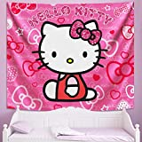CONG Hello Kitty Tapestry Cute Pink Wall Art Backdrop for Kids Girls Bedroom Decoration Birthday Gifts 60x70in