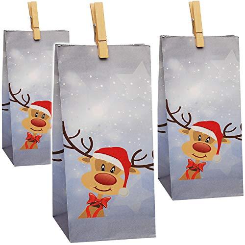 alles-meine.de GmbH 24 TLG. Set - Geschenktaschen / Geschenktüten - Rentiere - Tüten zum selbst Befüllen - Adventskalender / Weihnachtskalender - Wichtel Weihnachtstüten - Papier..