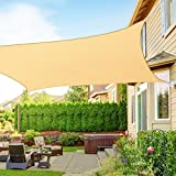 RATEL Sun Shade Sail Awning 8x12' Rectangle Sand, 95% Sunlight Block Sunscreen Canopy for Patio Garden Lawn Decking