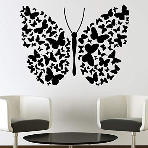GJQFJBS Mode stil schöne schmetterling und blume wandaufkleber vinyl kunst wandtattoo wohnkultur wandbild A1 59x34 cm