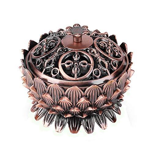 Vientiane Lotus Form Räuchergefäß, Mini Metall Aromatherapie Halter Weihrauchbrenner, Herd Rückfluss Räuchergefäß für Dekoration Geschenk Zubehör (9,2 x 7,3 cm)