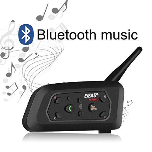 Ejeas V6 Pro Auriculares Intercomunicador Moto Bluetooth para Motocicletas, Gama Comunicación Intercom de 1200m, intercomunicador Casco Moto, Impermeabilidad, Intercomunicacion Entre 6 Motociclistas miniatura