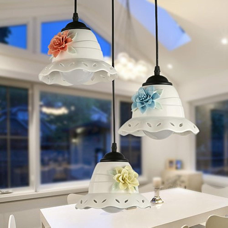 BESPD Led-Lampen modernen minimalistischen Drei Kopf Restaurant Anhnger Light Corridor Gang Licht Persnlichkeit Creative Bar Keramik Kronleuchter einem Kopf+5W Weiß Pearl Glühlampe Led