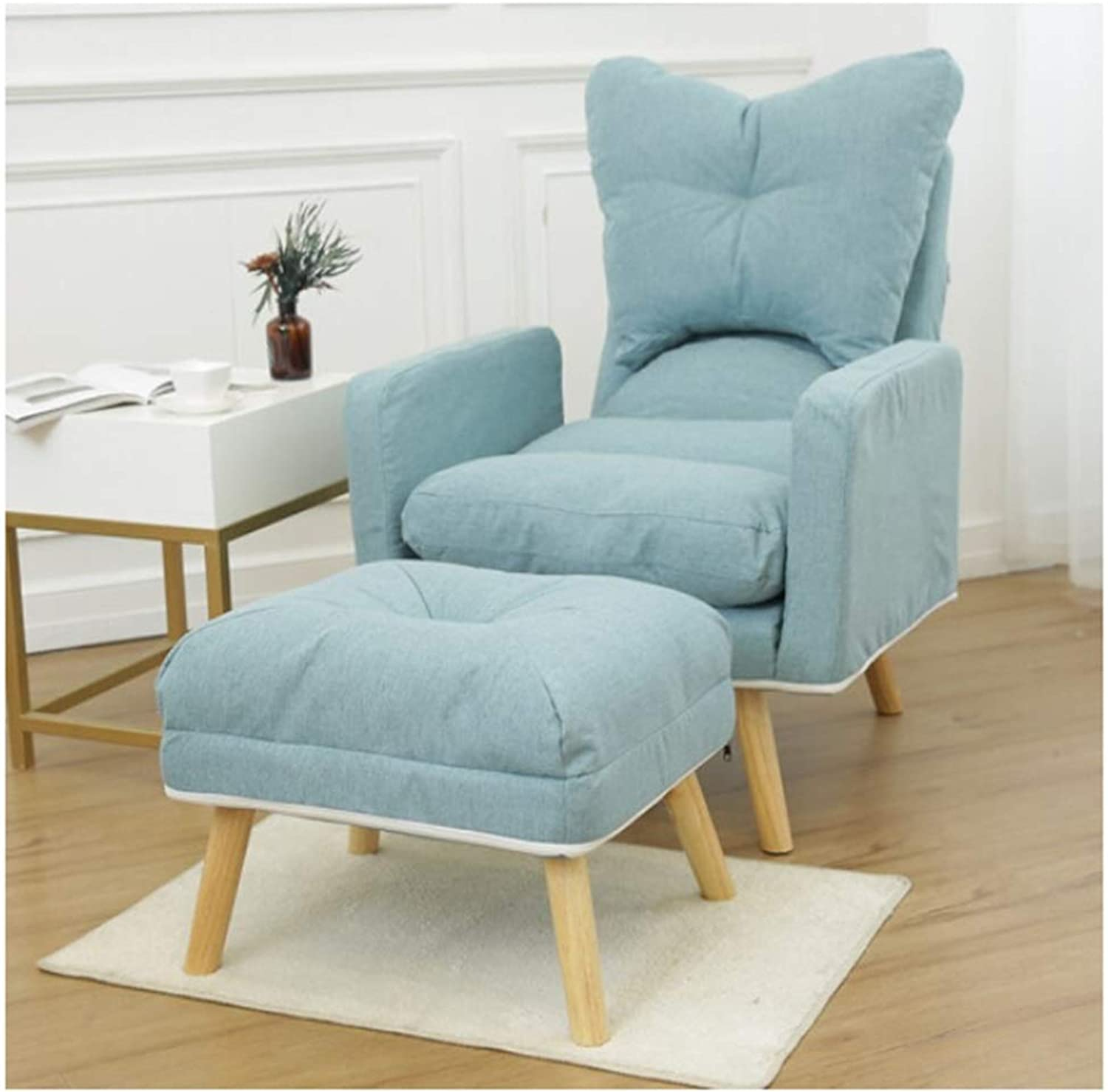 SCM Lazy Couch Thick Fabric Chair Foldable Office Bedroom Nap Modern Minimalist Single Sofa with Footstool 60×95cm (color   Light blueee)