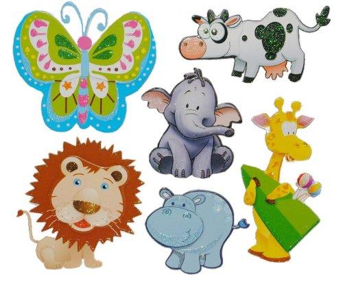 alles-meine.de GmbH 6 TLG. Set 3-D ! Wandtattoo / Fensterbild Tiere Löwe Giraffe Elefant Kuh Tier Pappe selbstklebend
