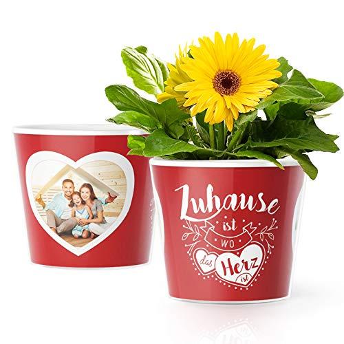Facepot Einweihungsgeschenk Blumentopf (ø16cm) | Deko Geschenk zum Wohnungseinzug, Haus Umzug oder Einzugsgeschenke für Wohnung mit Bilderrahmen für 2 Fotos (10x15cm) | Zuhause ist wo das Herz ist