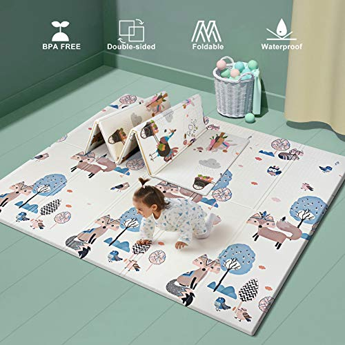 Foldable Baby Play Mat for Crawling, Extra Large Play Mat for Baby, Waterproof Non Toxic Anti-Slip Reversible Foam Playmat for Baby Toddlers Kids 71' x 79' x 0.6'