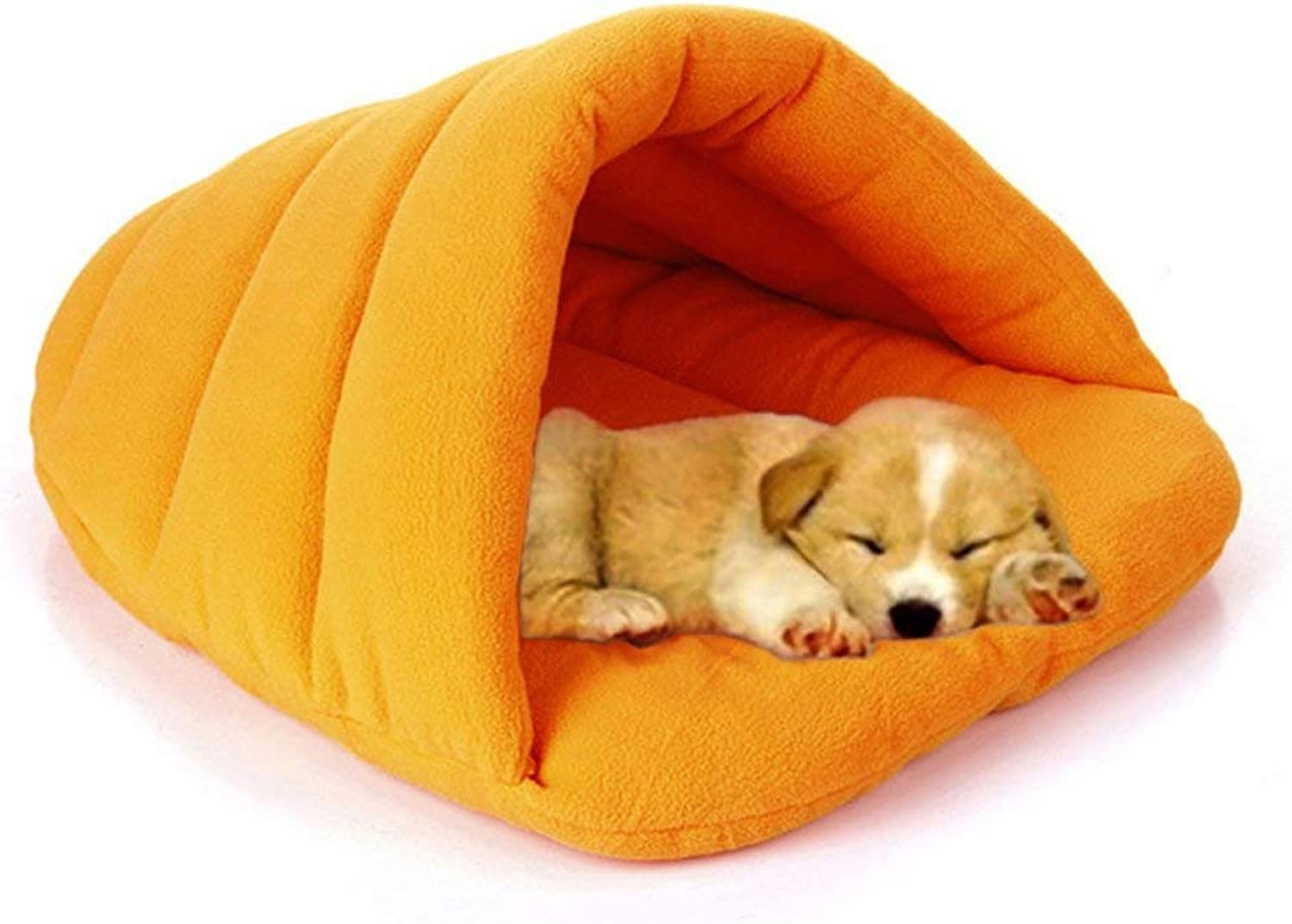Dogs Sleeping Bag, Pets Cave Bed Half Covered Cuddle Cushion Kennel in Winter Warm Comfortable Pouch for Cats Rabbit Puppy,orange,L