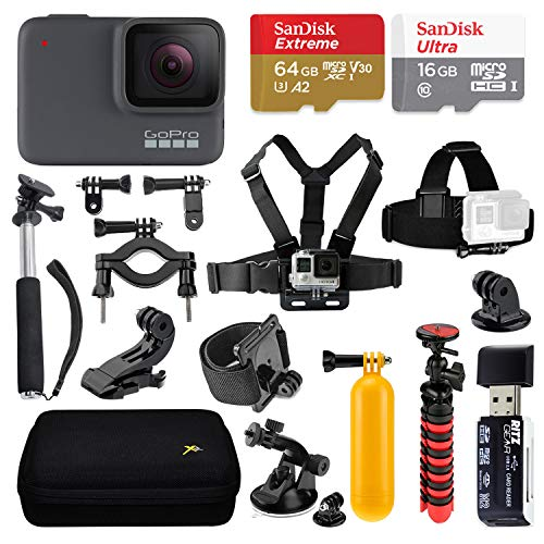 GoPro Hero 7 Silver Action Camera with Sandisk 64GB and 16GB Memory Cards, Multiple GoPro Mounts, Accessories, Case, Flexi-Tripod and Float Handle