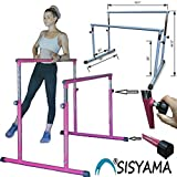 SISYAMA Ballet Barre Booty Bar Portable Freestanding Adjustable Workout Fitness Stretch Dance Bar (Fuchsia)