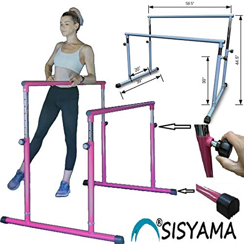 SISYAMA Ballet Barre Booty Bar Portable Freestanding Adjustable Workout Fitness Stretch Dance Bar (DoubleFuchsia)