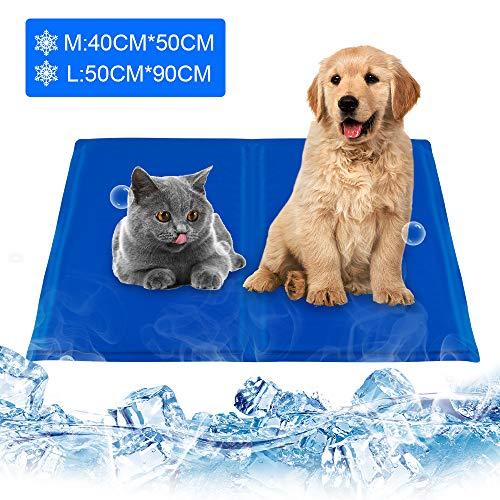 infinitoo Kühlmatte Hunde Katzen Haustiere Matte zur Regulierung der Körpertemperatur Pad Selbstkühlendes Kühlkissen Kühl Hundedecke Kaltgelpad Blau(L: 20 * 36in)