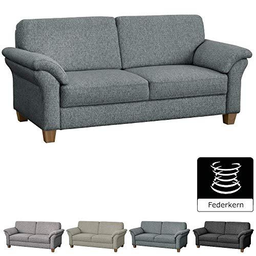 CAVADORE 3-Sitzer Byrum / Landhaus Sofa mit Federkern / 186 x 87 x 88 / Hellgrau