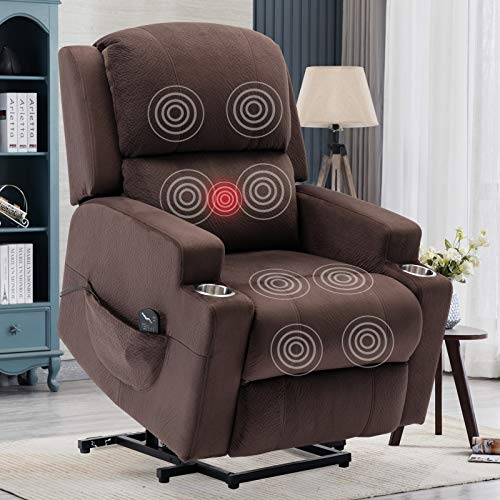ANJ Power Lift Recliner Chairs for Elderly Heavy Duty Reclining Chair with Heat & Vibration, Electric Massage Recliners with Cup Holders (Chocolate)