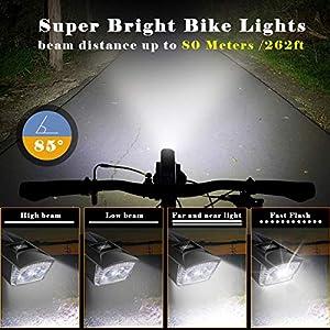 ENONEO Luz Bicicleta Led Recargable 300LM Luces Bicicleta Delantera y Trasera de Montaña Impermeable Anti-Robo Luz Frontal Bicicleta con 4 Modos de Luz y 5 Sonidos de Bocina (Negro)