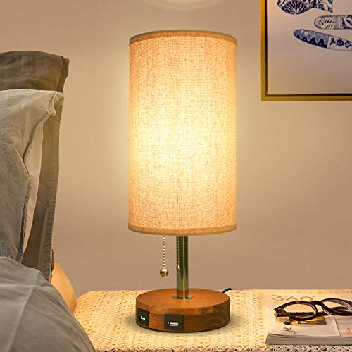 USB Bedside Table Lamp,Seealle Modern Table & Desk Lamp with 2 USB Fast Charging Port, Solid Wood Unique Lampshade,Convenient Pull Chain for Bedroom Living Room Dinning Table