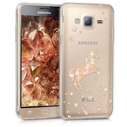 kwmobile Hülle kompatibel mit Samsung Galaxy J3 (2016) DUOS - Handyhülle - Handy Case Einhorn Rosegold Transparent