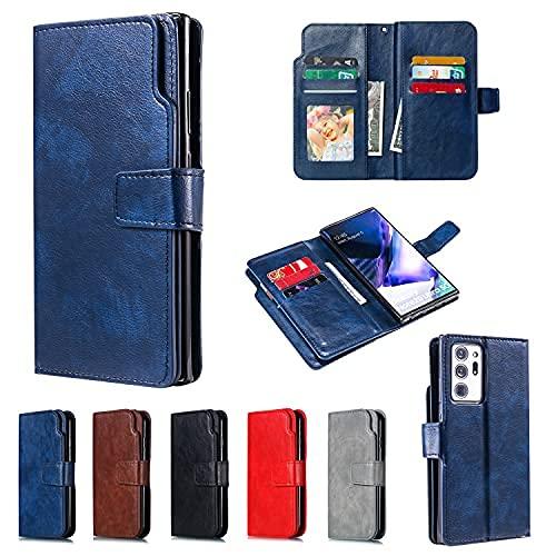 Lujo nueve ranuras para tarjetas PU cuero cartera caso Flip cubierta protectora para Samsung Galaxy (marrón, Samsung A5 2017/A520)
