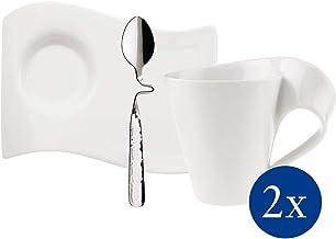 Villeroy & Boch NewWave Set para Capuchino de 6 pz. | Taza de café, Platillo, Cuchara, para 2 Personas, Apto para lavavajillas, Acero Inoxidable, weiß