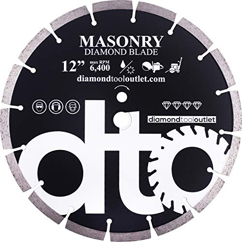 dto SGP12P 12-Inch Premium Diamond Segmented Saw Blade for General Purpose, Masonry, Concrete, Brick, 1-Inch Arbor, Wet or Dry Cutting, 6400 Max. RPM, 12mm (.472') segment height